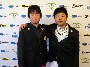 男子13-14代表の吉沢(左)と平野